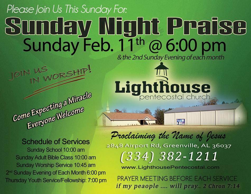 Sunday Praise, Lighthouse Pentecostal Church, Greenville, Alabama, Pastor Darryl Freeman, The Pentecostals of Greenville, Alabama